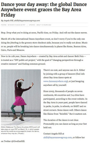 dance anywhere day article from Mercury News, March 16, 2016.