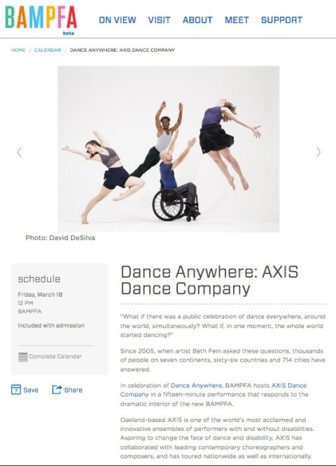 BAMPFA hosts Axis Dance for dance anywhere® 2016.