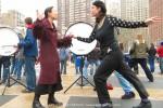 Sandra Chinn and Julie Lemberger, childhood friends greet each other with a dance